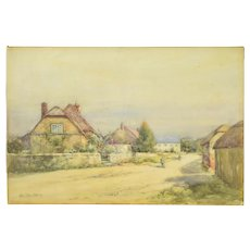 Alexander MacBride Early 20th Century British Watercolor Village Scene