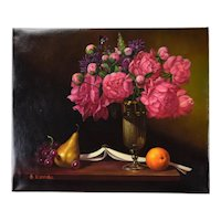 Still Life Oil Painting Silver Vase w Pink Flowers Orange Pear and Grapes by Rodrigo