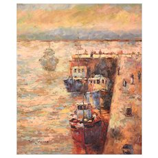 Impressionist Oil Painting Commercial Fishing Boats at Dock by Sully Misso