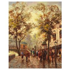 Impressionist Oil Painting Parisian Street Scene w Morris Columns by Rockwell
