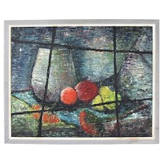 Vintage Mid-Century Modern Heavy Impasto Still Life Oil Painting