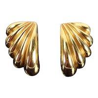 Estate Pair 14k Solid Yellow Gold Dan Frere Shell or Swoosh Shape Earrings