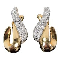 Estate Pair 14k Solid Yellow Gold Simulated Diamond Pave Swoosh Shape Earrings