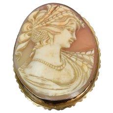 Vintage Estate 14k Carved Shell Cameo Pendant Brooch