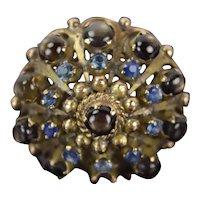 Vintage 14k Gold Thai Princess Ring Smoky Topaz Cabochons Sapphires