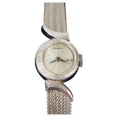 Vintage Mid-Century Benrus 14k Brushed White Gold Watch Offset Dial Swoosh Lugs