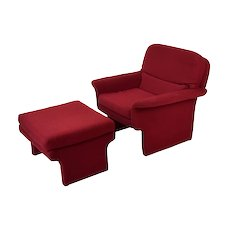 Vladimir Kagan for Preview Mid-Century Modern Armchair and Ottoman