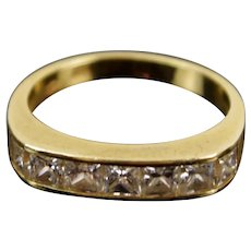 Vintage Estate 14k Solid Gold Band Ring with Channel Set Simulated Diamonds