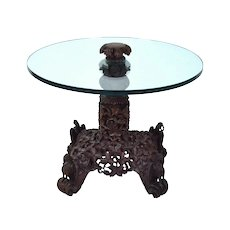 Vintage Rosewood Side Table Heavily Carved w Eagles atop Scroll Feet Glass Top
