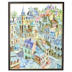 Colorful Painting Fantasy Paris Neighborhood Rooftops w Sleeping Cat sgnd Piene