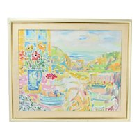 Kurt Polter Sunny Impressionist Oil Painting Ocean View from Patio
