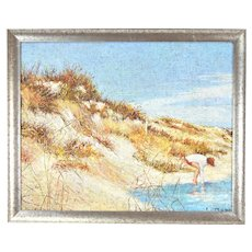 Vintage Oil Painting Girl at Edge of Water w Sand Dunes signed Cottone