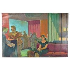 "Vintage 1950's Painting ""Bar 21"" Dick Fort Chicago Nightclub Series as-is"