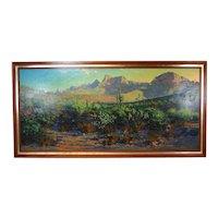 Monumental Richard Iams Southwest Landscape w Cacti Rock Formations Oil Painting