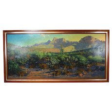Monumental Richard Iams Southwest Landscape w Cacti Rock Formations Oil Painting
