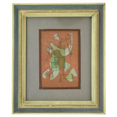 Mid-Century Modern Mixed Media Painting Abstract Cubist Figure attr. Dick Fort