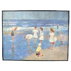 Vintage Oil Painting Beach Scene Children Playing in the Surf and Tide Pools