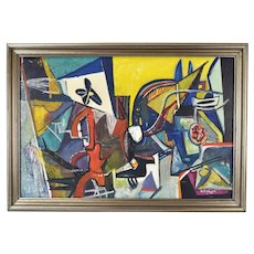 Mid-Century Modern 1952 Robert A. Ehrlich Cubist Abstract Oil Painting