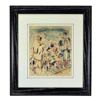 Mid-Century Modern 1950 Robert A. Ehrlich Figures with Bicycle Painting Cerused Oak Frame
