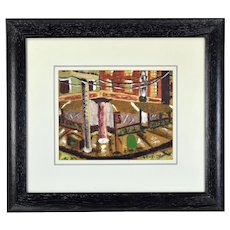 Mid-Century Modern 1950 Robert A. Ehrlich Mixed Media Abstract Street Corner Architectural Painting