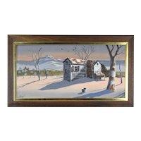 Oil Painting Winter Landscape Abandoned Shack with Black Birds signed Arnzel