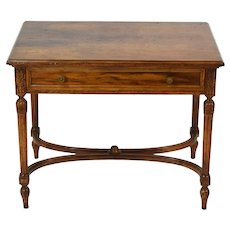 Antique Style Finely Made Neoclassical Carved & Figured Walnut End Table