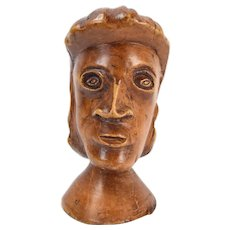Vintage Folk Art Carved Wood Head of a Woman Sculpture