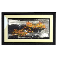 Yongqun Guo Painting 5 Red-Headed Cranes Abstracted Forest Chinese