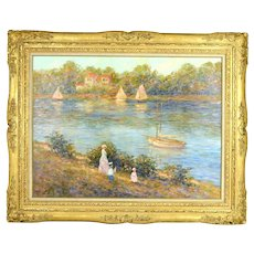 Impressionist Oil Painting  The Little Sailor Family w Sailboats sgnd E J Cygne