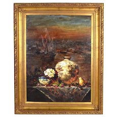 Huge Impressionist Chinese Still Life Oil painting Overlooking Harbor Signed