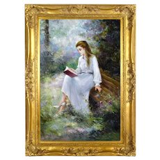 Impressionist Oil Painting Young Woman Reading in Garden sgd Richard Moore