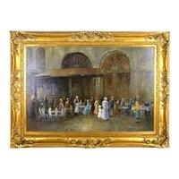 TE Penck Vintage French Impressionist Oil painting Parisian Café Scene