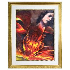 Yankel Ginzburg Original Painting Woman w Superimposed Fiery Red Flowers