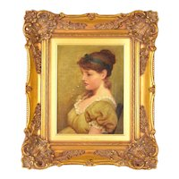 1881 Original Portrait of Red Headed Young Woman signed George Dunlop Leslie