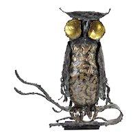 Vintage Brutalist Owl Metal Sculpture Sgnd Pascoe Mid Century Modern Jere Era