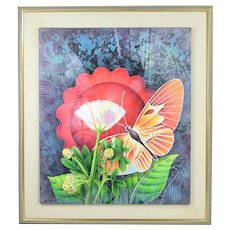 """Yankel Ginzburg Original Acrylic Painting """"The Flower and the Butterfly"""""""