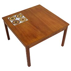 Vintage Danish Modern Inset Tile Top Teak Coffee Cocktail Table