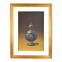 Vintage Photo Realist Still Life Painting Thai Porcelain Benjarong Jar with Buddha signed