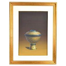 Vintage Photo Realist Still Life Painting Thai Porcelain Benjarong Bowl signed