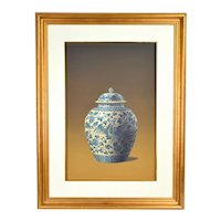 Vintage Photo Realist Still Life Painting Antique Chinese Porcelain Phoenix Jar signed