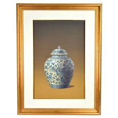 Vintage Photo Realist Still Life Painting Antique Chinese Porcelain Phoenix Jar signed