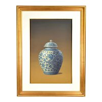 Vintage Photo Realist Still Life Painting Antique Chinese Porcelain Dragon Jar signed