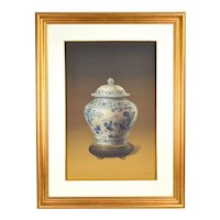 Vintage Photo Realist Painting Antique Chinese Porcelain Jar Children Playing signed