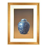 Vintage Photo Realist Painting Antique Chinese Porcelain Jar Cherry Blossoms signed