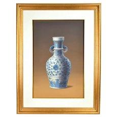 Vintage Photo Realist Painting Antique Chinese Porcelain 2-handle Vase signed