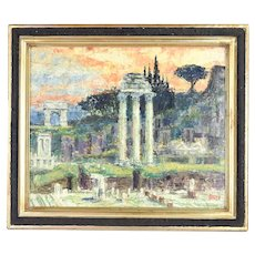 Vintage Mid-Century Modern Abstract Painting Roman Forum by George Velich