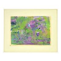 Mid-Century Modern Abstract Monoprint sgnd Margot Bergman Chicago