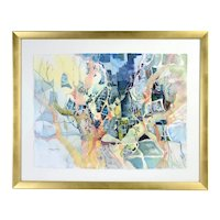 Abstract Painting Trees w Architecture Barbara Goldstein Texas San Miguel artist