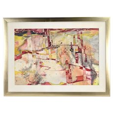 Abstract Red Yellow Painting w Cactus Barbara Goldstein Texas San Miguel artist