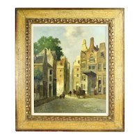 Impressionist 19th Century Style European Street Scene w Carts Oil Painting signed